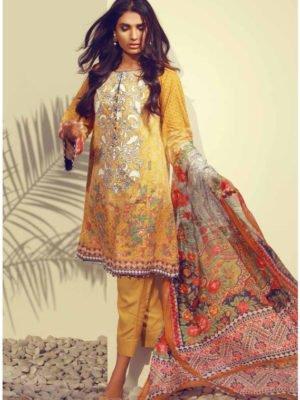 Ready to Ship Ayesha Chotani Embroidered Lawn Chiffon Dupatta Salwar Suit