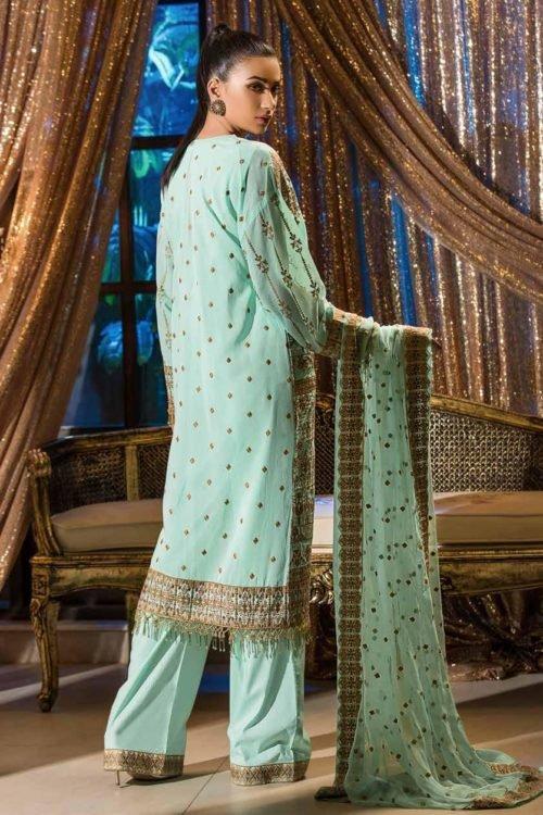 Pakistani Suits & Dresses - Unstitched Dress Material Johra Gold Swiss Voil Embroidered Collection Chiffon Dupatta Salwar Suit