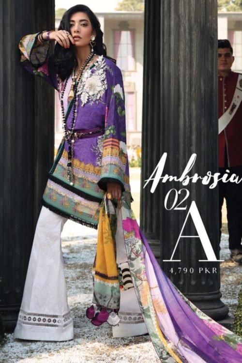 Ready to Ship Zaha's Wonderland Summer Lawn Collection 2019 02A – Ambrosia RESTOCKED Lawn Dupatta Salwar Suits