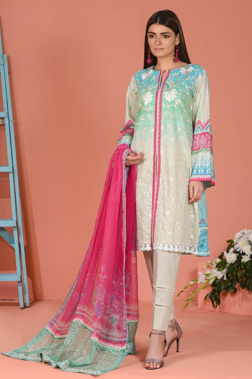 LSM Spring Summer 2019 - Original LSM Color Fusion COOL BREEZE Chiffon Dupatta Salwar Suit