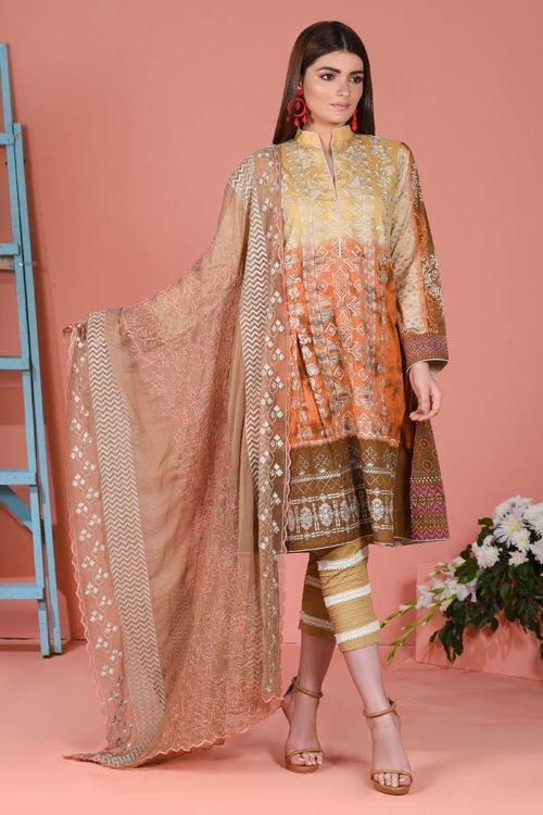 LSM Spring Summer 2019 - Original LSM Color Fusion EARTHY ESSENCE Chiffon Dupatta Salwar Suit