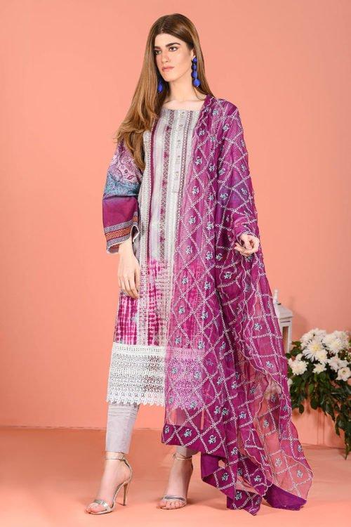 LSM Spring Summer 2019 - Original LSM Color Fusion BANDHANI Chiffon Dupatta Salwar Suit