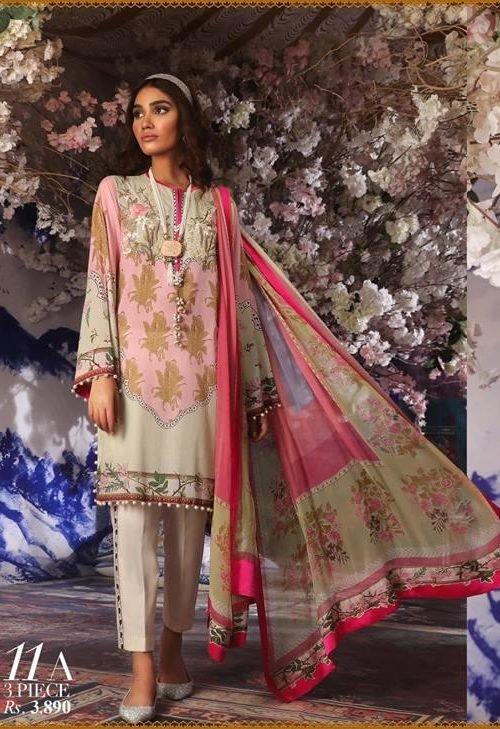 Sana Safinaz Muzlin Vol 2 – 2019- 11A Lawn - Reloaded Chiffon Dupatta Salwar Suit