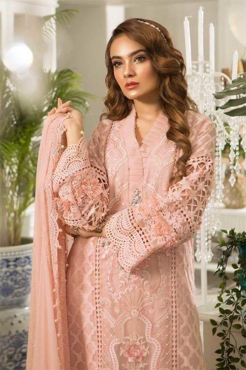 *On Sale* MARIA.B. Eid Unstitched MBROIDERED – Peachy Pink (BD-1602) RESTOCKED Chiffon Dupatta Salwar Suit
