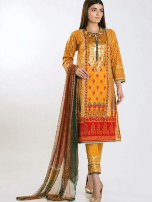 Khaadi Khaadi Festive Eid 2019 GR19306-Yellow-3Pc Chiffon Dupatta Salwar Suit
