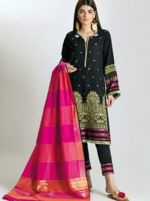 Khaadi Khaadi Festive Eid 2019 HLB19102-Black-3Pc Chiffon Dupatta Salwar Suit