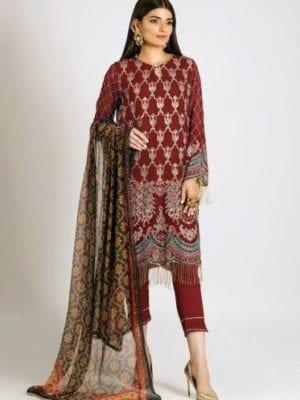 *On Sale* Khaadi Festive Eid 2019 LCP19202-Maroon-3Pc RESTOCKED Chiffon Dupatta Salwar Suit