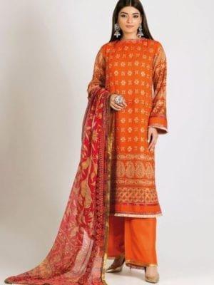 Khaadi Khaadi Festive Eid 2019 LCP19203-Orange-3Pc Chiffon Dupatta Salwar Suit