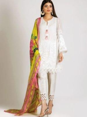 Khaadi Khaadi Festive Eid 2019 LCP19205-White-3Pc Chiffon Dupatta Salwar Suit