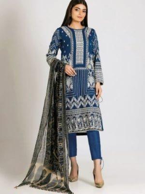 Khaadi Khaadi Festive Eid 2019 LCP19207-Blue-3Pc Chiffon Dupatta Salwar Suit