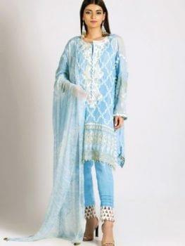 Khaadi Khaadi Festive Eid 2019 LCP19209-Blue-3Pc Chiffon Dupatta Salwar Suit