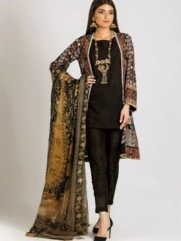 Khaadi Khaadi Festive Eid 2019 LCP19214-Brown-3Pc RESTOCKED UZ best pakistani suits collection