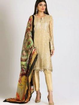 Khaadi Khaadi Festive Eid 2019 LCP19217-Cream-3Pc Chiffon Dupatta Salwar Suit