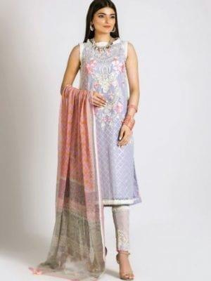 Khaadi Khaadi Festive Eid 2019 LCP19218-Grey-3Pc Chiffon Dupatta Salwar Suit