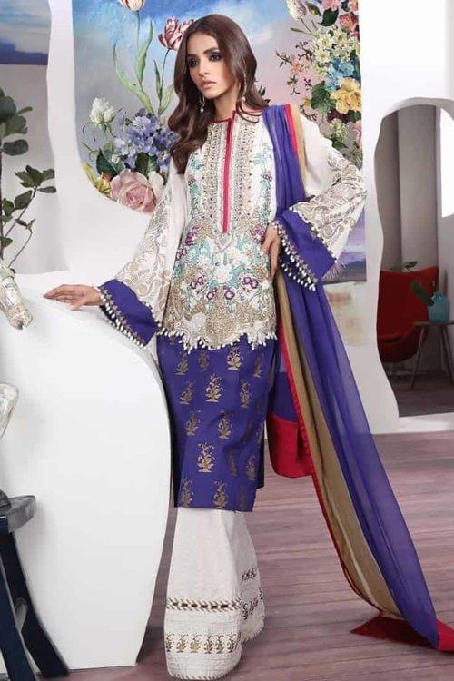 Sana Safinaz Sana Safinaz Muzlin Luxury Vol I '19 2B Chiffon Dupatta Salwar Suit