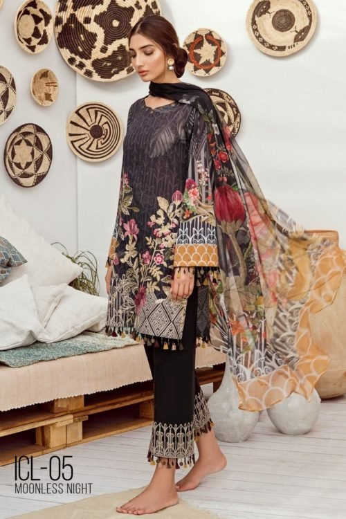 *On Sale* Iznik Chinon Lawn Volume 3 – ICL -05 (Moonless Night) RESTOCKED Chiffon Dupatta Salwar Suit