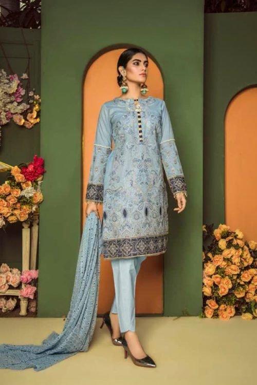 *On Sale* Aurelia by Adan Libas CADET BLUE – EMBROIDERED LAWN UNSTITCHED Adan Libas Pakistani Suits