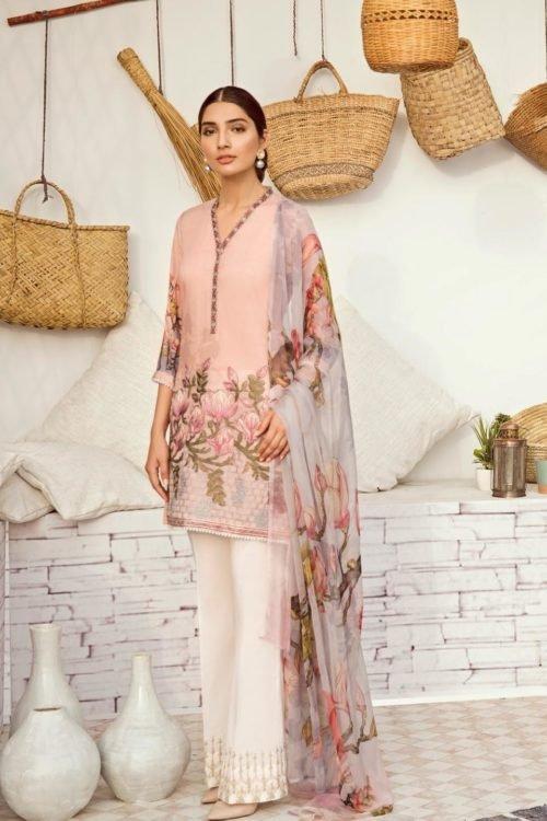 *On Sale* Iznik Chinon Lawn Volume 3 – ICL -12 (Misty Rose) best pakistani suits collection