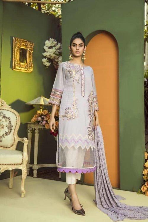 *On Sale* Aurelia by Adan Libas SWISS COFFEE – EMBROIDERED LAWN UNSTITCHED RESTOCKED Adan Libas Pakistani Suits