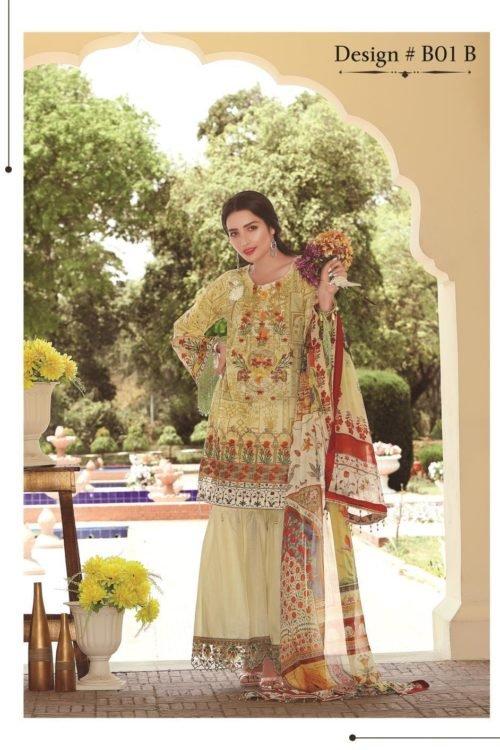 ~Sold out~ Rangriti Luxury Festive Lawn Collection by Biba Chiffon Dupatta Salwar Suit