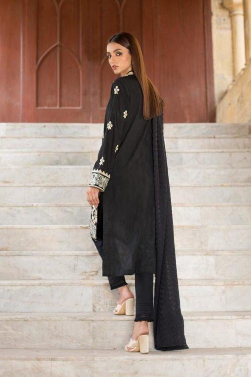 Black & White Regalia - Original Black & White Embroidered Lawn Salwar Kameez by Regalia Lawn Dupatta Salwar Suits