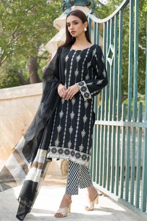*Hot on Sale* Black & White Embroidered Lawn Salwar Kameez by Regalia HOT Lawn Dupatta Salwar Suits