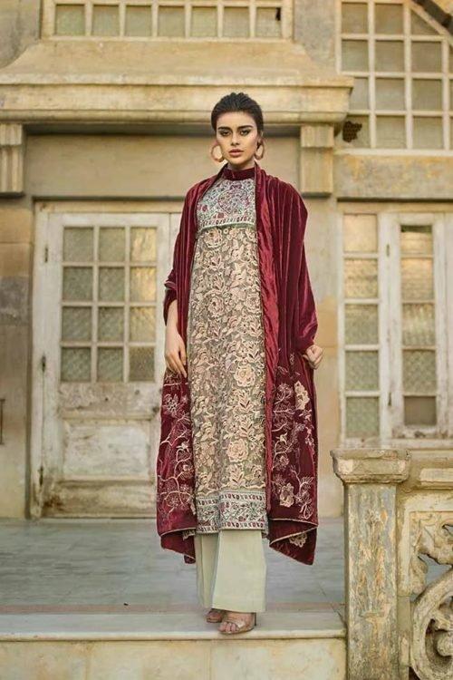 Tena Durrani Winter Shawl - Original Tena Durrani Winter Shawl TD 01B Salwar Suits Pakistani Suits for Winter