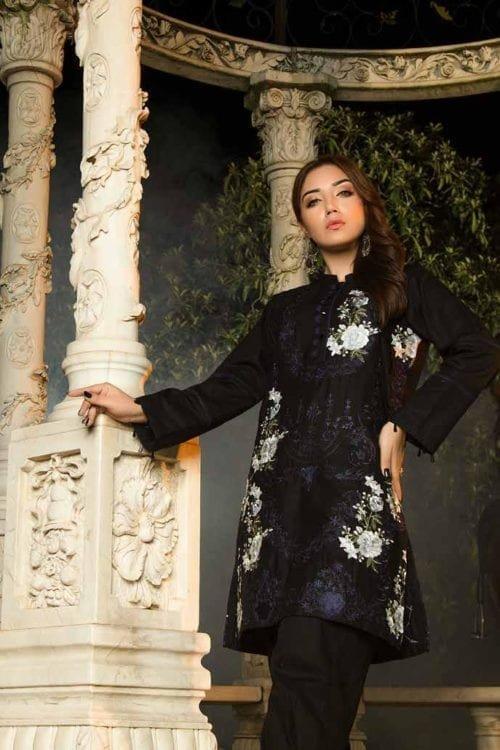 *Hot on Sale* Muzayyan by Adan's Libas Black Kurti Collection Design 7 HOT Adan Libas Pakistani Suits