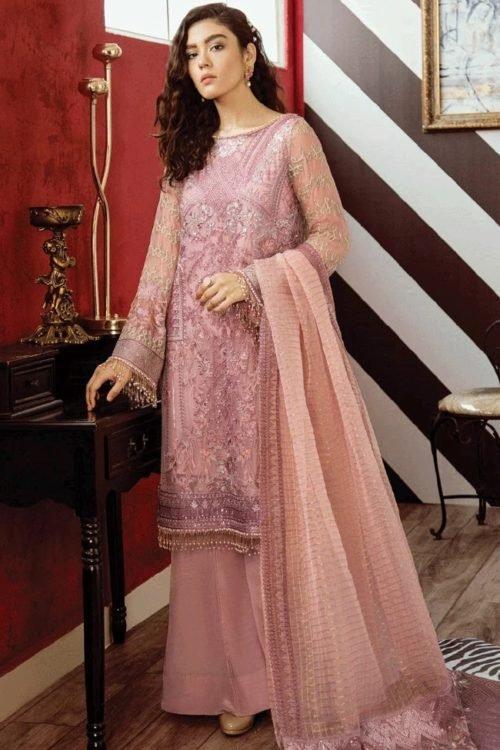 *On Sale* Opulent Chiffon by Iznik Design Carnation Pink HOT pakistani suits in delhi