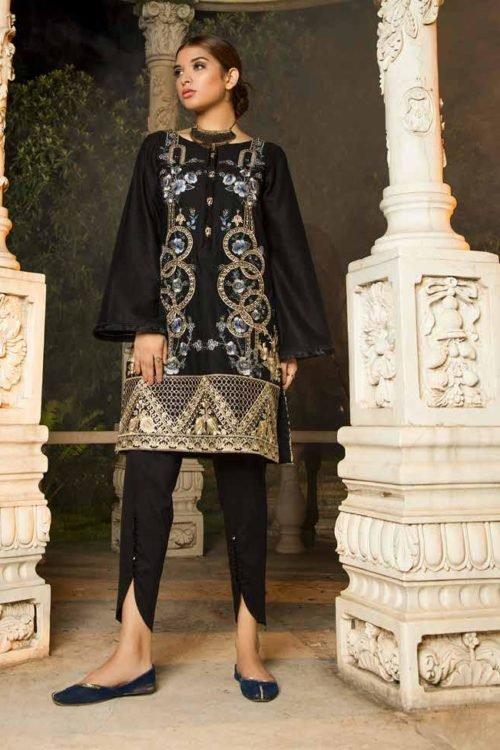 Muzayyan by Adan's Libas Black Kurti Collection - Original Muzayyan by Adan's Libas Black Kurti Collection Design 8 Adan Libas Pakistani Suits