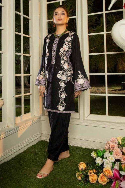 *Hot on Sale* Muzayyan by Adan's Libas Black Kurti Collection Design 12 HOT Adan Libas Pakistani Suits