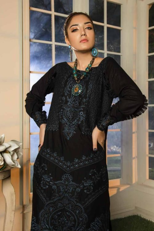 *Hot on Sale* Muzayyan by Adan's Libas Black Kurti Collection Design 13 HOT Adan Libas Pakistani Suits