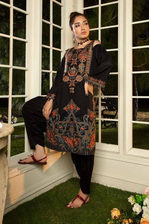 *Hot on Sale* Muzayyan by Adan's Libas Black Kurti Collection Design 15 HOT Adan Libas Pakistani Suits