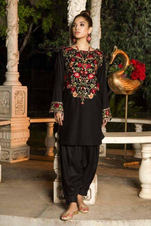 Muzayyan by Adan's Libas Black Kurti Collection - Original Muzayyan by Adan's Libas Black Kurti Collection Design 16 Adan Libas Pakistani Suits