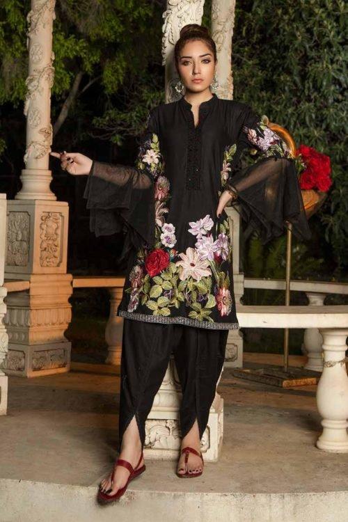 Muzayyan by Adan's Libas Black Kurti Collection - Original Muzayyan by Adan's Libas Black Kurti Collection Design 17 Adan Libas Pakistani Suits