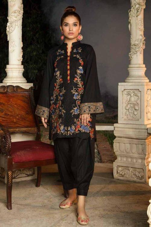 *Hot on Sale* Muzayyan by Adan's Libas Black Kurti Collection Design 19 HOT Adan Libas Pakistani Suits