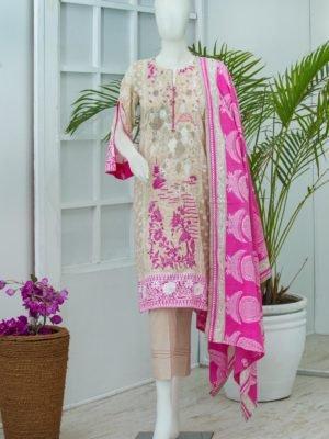 *Hot on Sale* Lyrique – Special Edition Lawn Collection by Alkaram Studio JC-20-19-CREAM | 3 PIECE HOT Alkaram Pakistani Suits