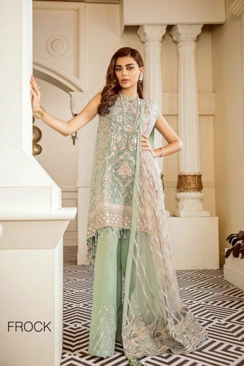 Baroque Chantelle Chiffon - Original Baroque Chantelle Chiffon Design 05 – Mint Tea Salwar Suits Pakistani Suits for Winter