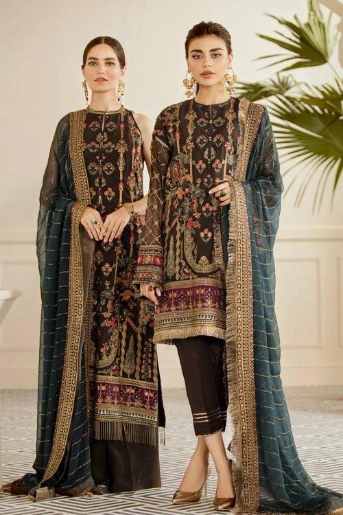 Baroque Chantelle Chiffon - Original Baroque Chantelle Chiffon Design 10 – Pecan Salwar Suits Pakistani Suits for Winter