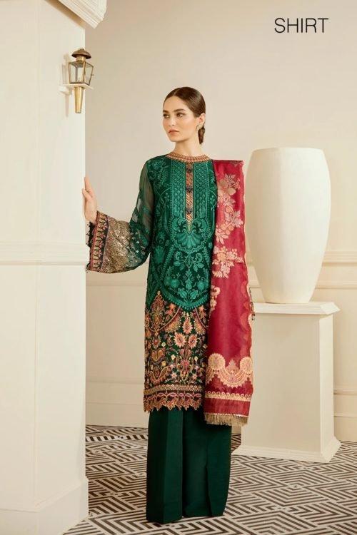 Baroque Chantelle Chiffon - Original Baroque Chantelle Chiffon Design 08- Emerald Salwar Suits Pakistani Suits for Winter