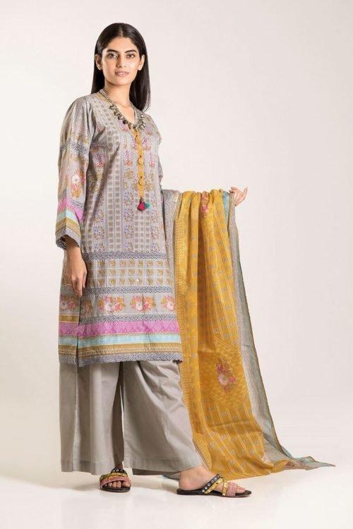 Khaadi Winter Vibe 2019 - Original Khaadi Winter Vibe 2019 CA19502-Grey-3Pc Salwar Suits Pakistani Suits for Winter