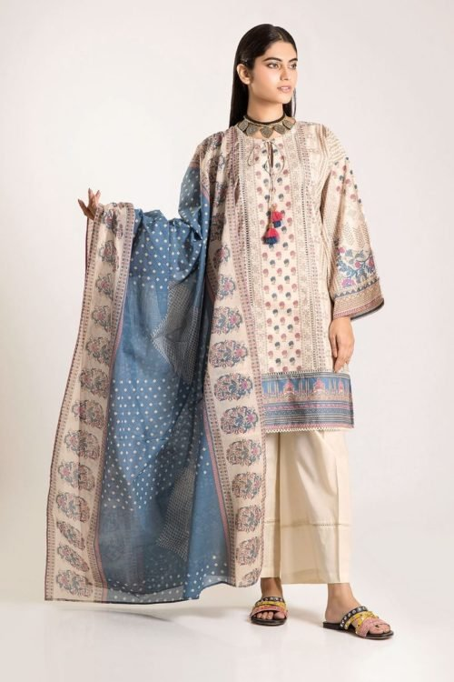 Khaadi Winter Vibe 2019 - Original Khaadi Winter Vibe 2019 CA19503-Beige-3Pc Salwar Suits Pakistani Suits for Winter