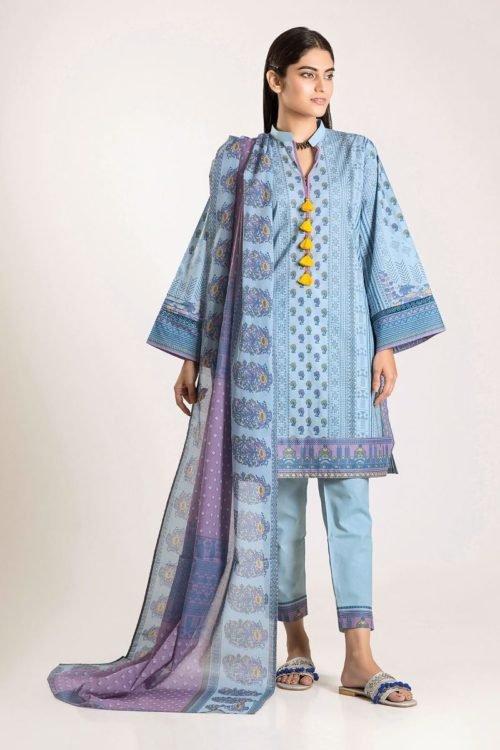 Khaadi Winter Vibe 2019 - Original Khaadi Winter Vibe 2019 CA19503-Blue-3Pc Salwar Suits Pakistani Suits for Winter