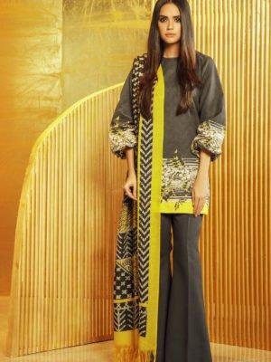 Alkaram Winter Collection 2019 - Original 3 Piece Embroidered Khaddar Suit with Printed Shawl |  Alkaram |  FW-14.1-19-Green pakistani suits in delhi