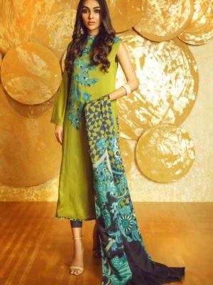 Alkaram Winter Collection 2019 - Original 3 Piece Printed Twill Viscose Suit with Twill Viscose Dupatta |  Alkaram |  FW-17.1-19-Beige pakistani suits in delhi