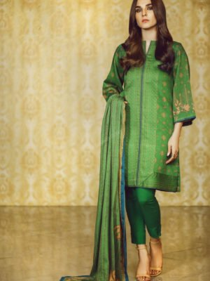 Alkaram Winter Collection 2019 - Original 3 Piece Printed Khaddar Suit with Khaddar Dupatta |  Alkaram | FW-2.1-19-Black pakistani suits in delhi