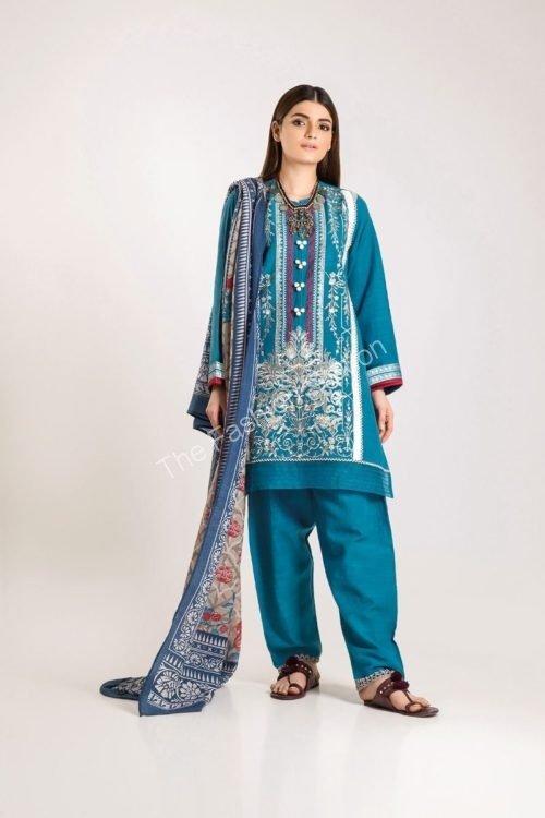 Khaadi Winter Vibe 2019 - Original Khaadi Winter Vibe 2019 KO19502-Blue-3Pc Salwar Suits Pakistani Suits for Winter