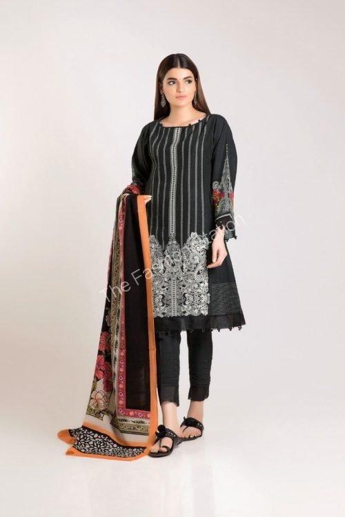 Khaadi Winter Vibe 2019 - Original Khaadi Winter Vibe 2019 KO19504-Black-3Pc Salwar Suits Pakistani Suits for Winter