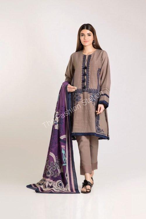 Khaadi Winter Vibe 2019 - Original Khaadi Winter Vibe 2019 KO19505-Beige-3Pc Salwar Suits Pakistani Suits for Winter