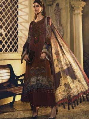 MARIA B MARIA.B. Silk 2019 Unstitched Silk MSK-408-Mustard Ready to Ship - Original Pakistani Suits
